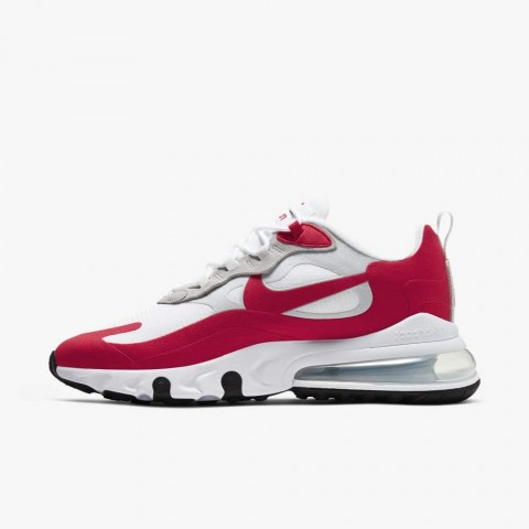 Nike Air Max 270 React Bianche/Pure Platinum/Nere/Rosse CW2625-100